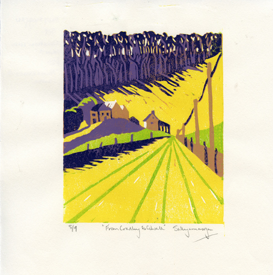 Morgan, Sally: From Cradley to Colwall linocut