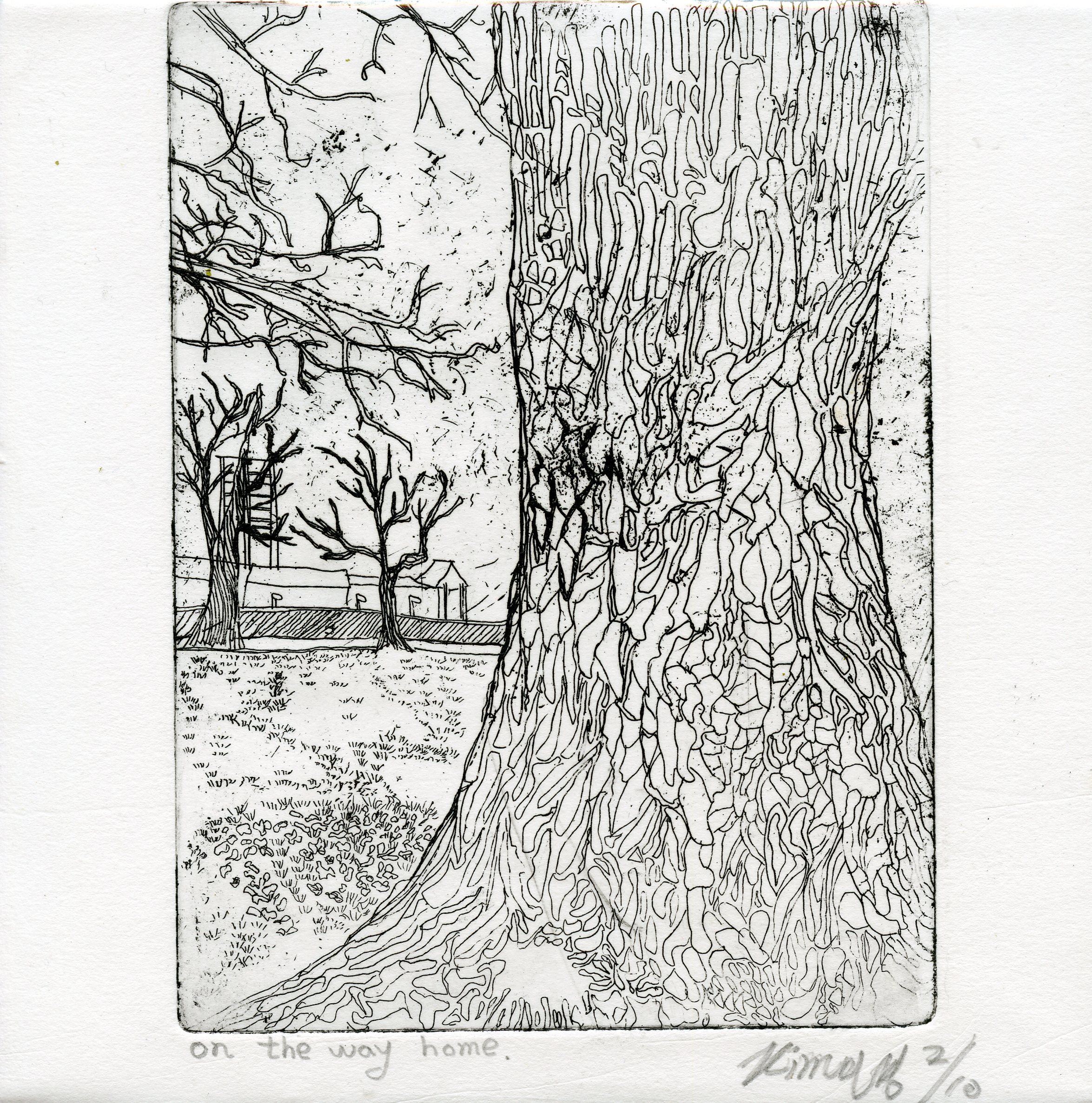 Min Kyung, Kim: On the Way Home etching