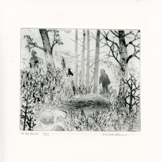 Odmann, Elizabeth: In the Forest drypoint