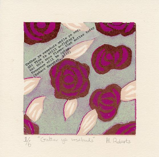 Roberts, Helen: Gather Ye Rosebuds woodcut