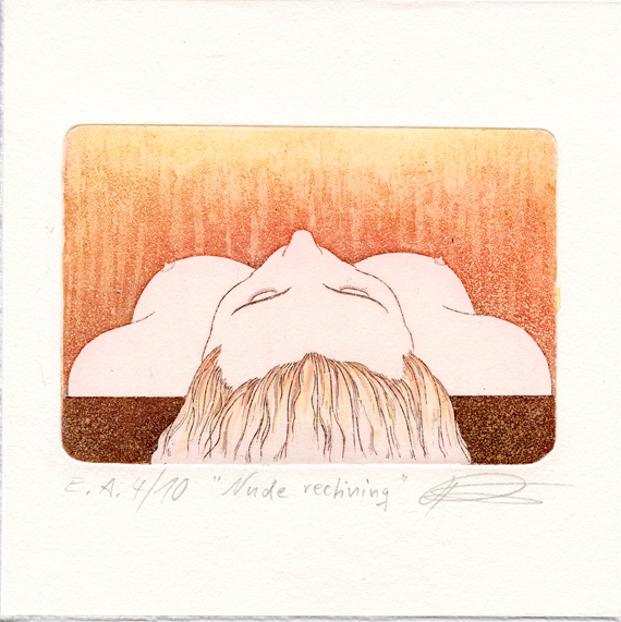 Ries, Kurt -  Nude reclining - Etching, aquatint, hand colored