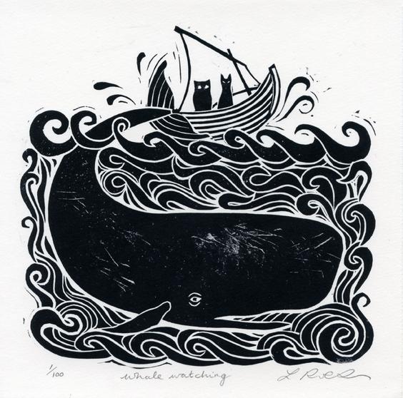 Robertson, Laura: Whale Watching linocut