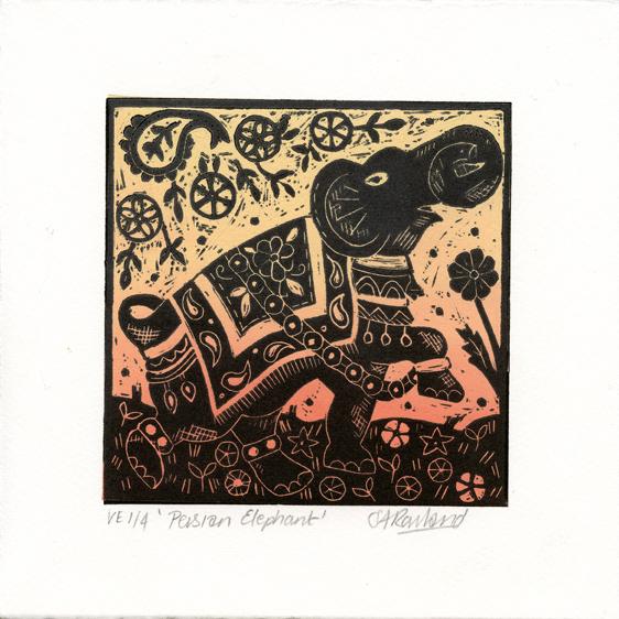 Rowland, Sue Persian Elephant linocut