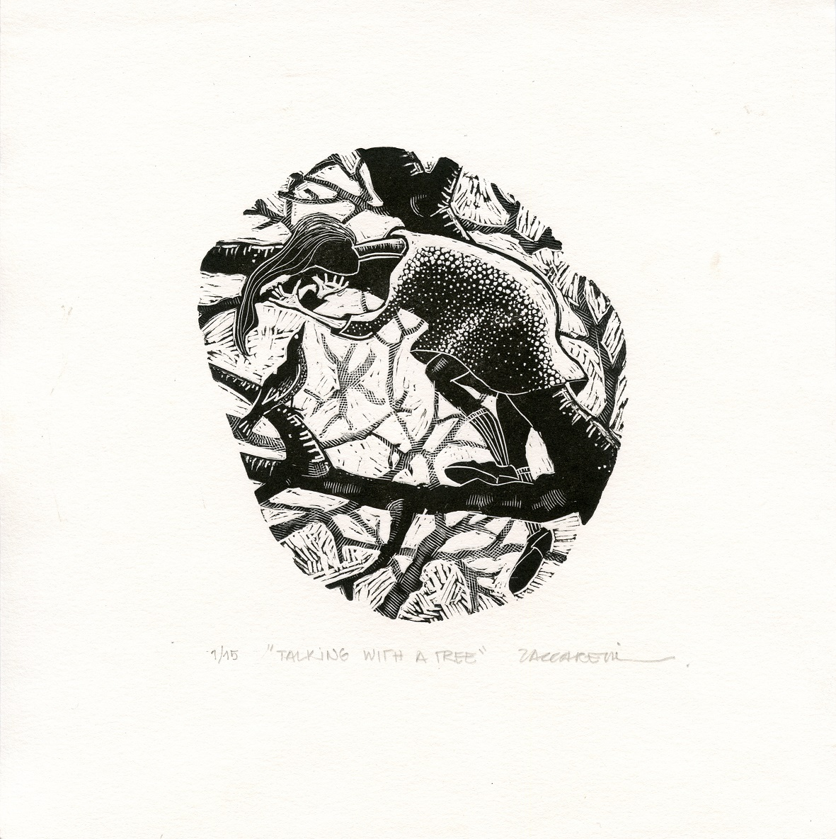 Zaccarelli, Camila: Talking with a Tree wood engraving