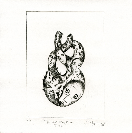 Zweig, Catherine: You and me Make Three drypoint