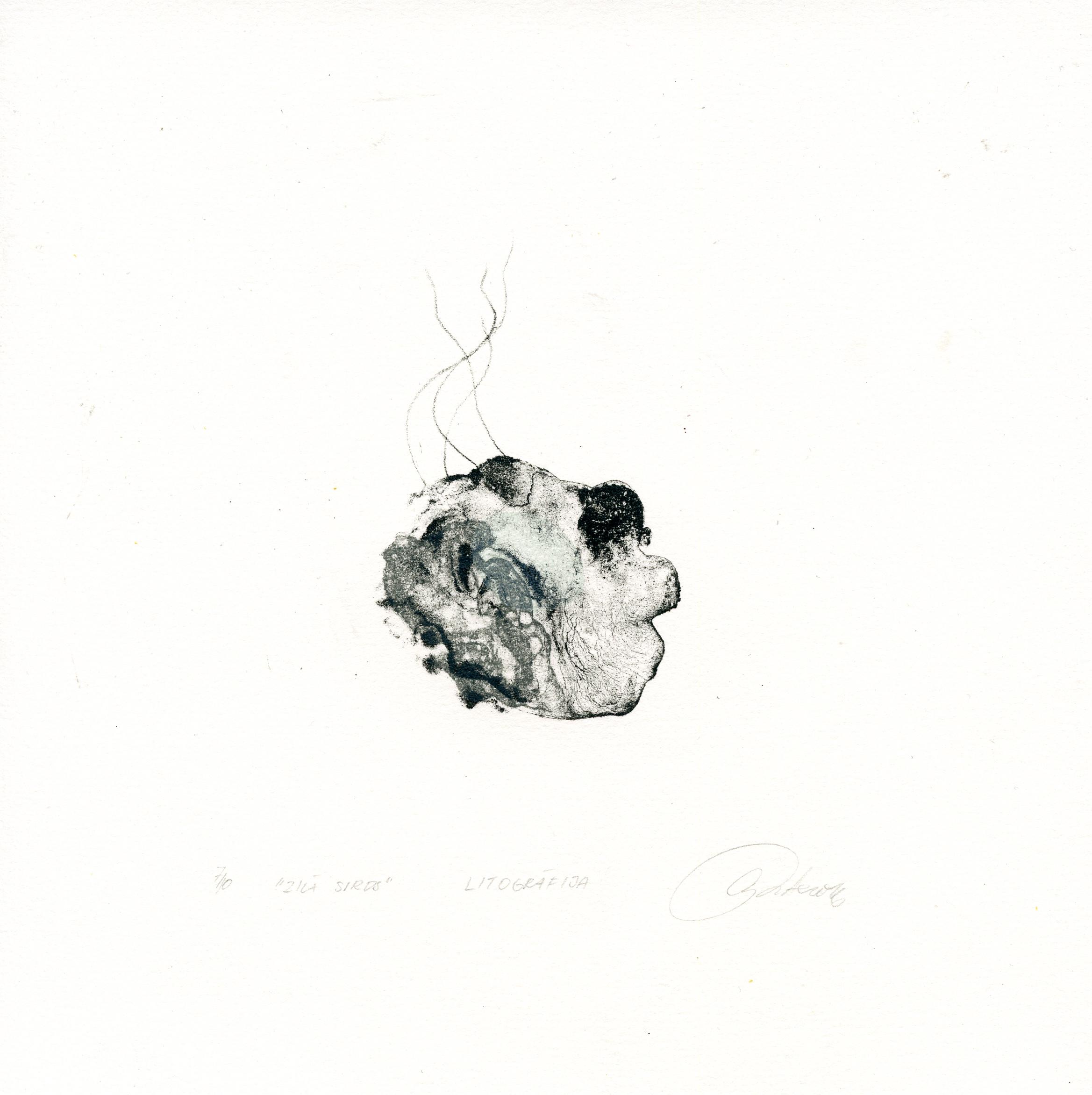 Smite, Ausma - The blue heart - Color lithography