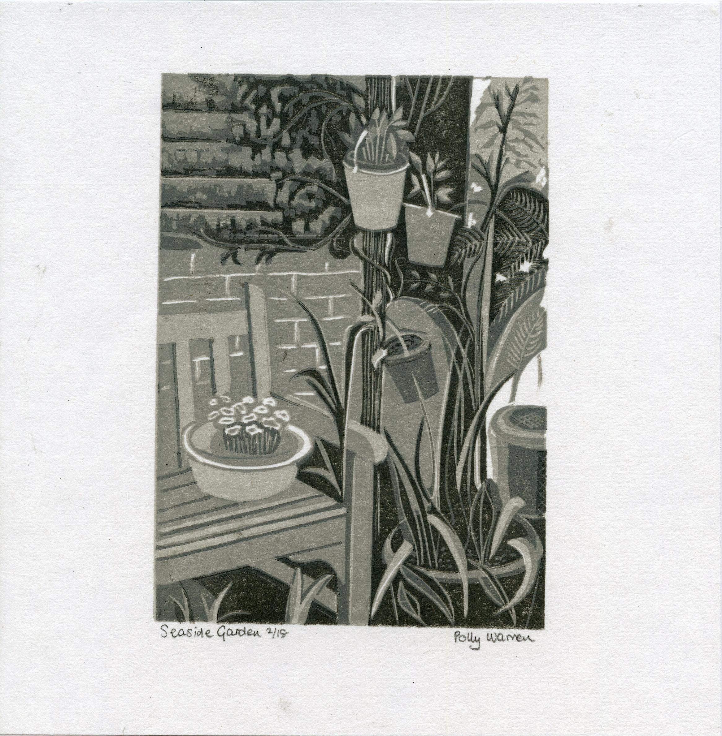 Warren, Polly - Seaside garden - Linocut