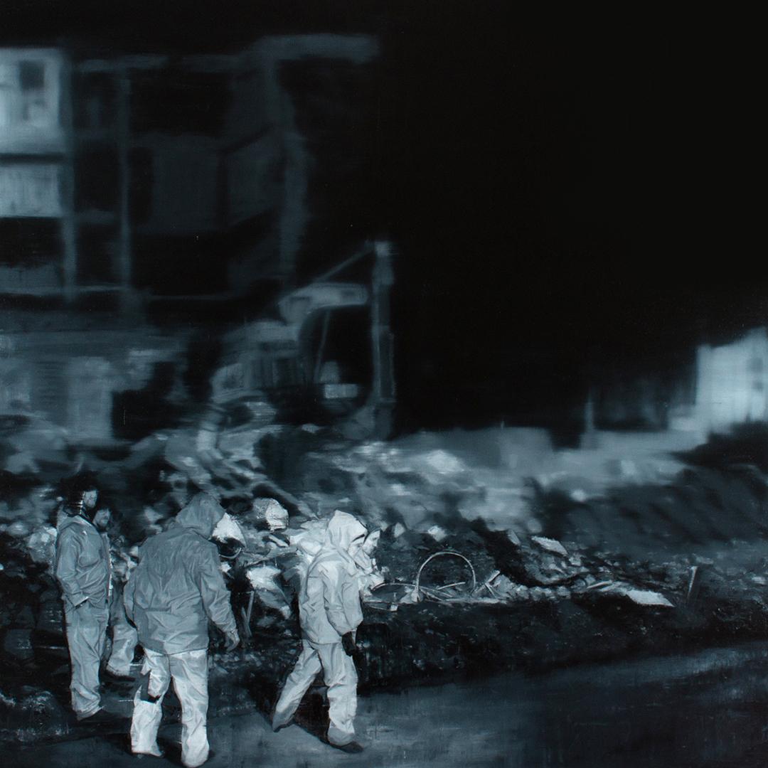 Imagine a Square, a Living Beautiful Square, oil on canvas 100cm x 100cm