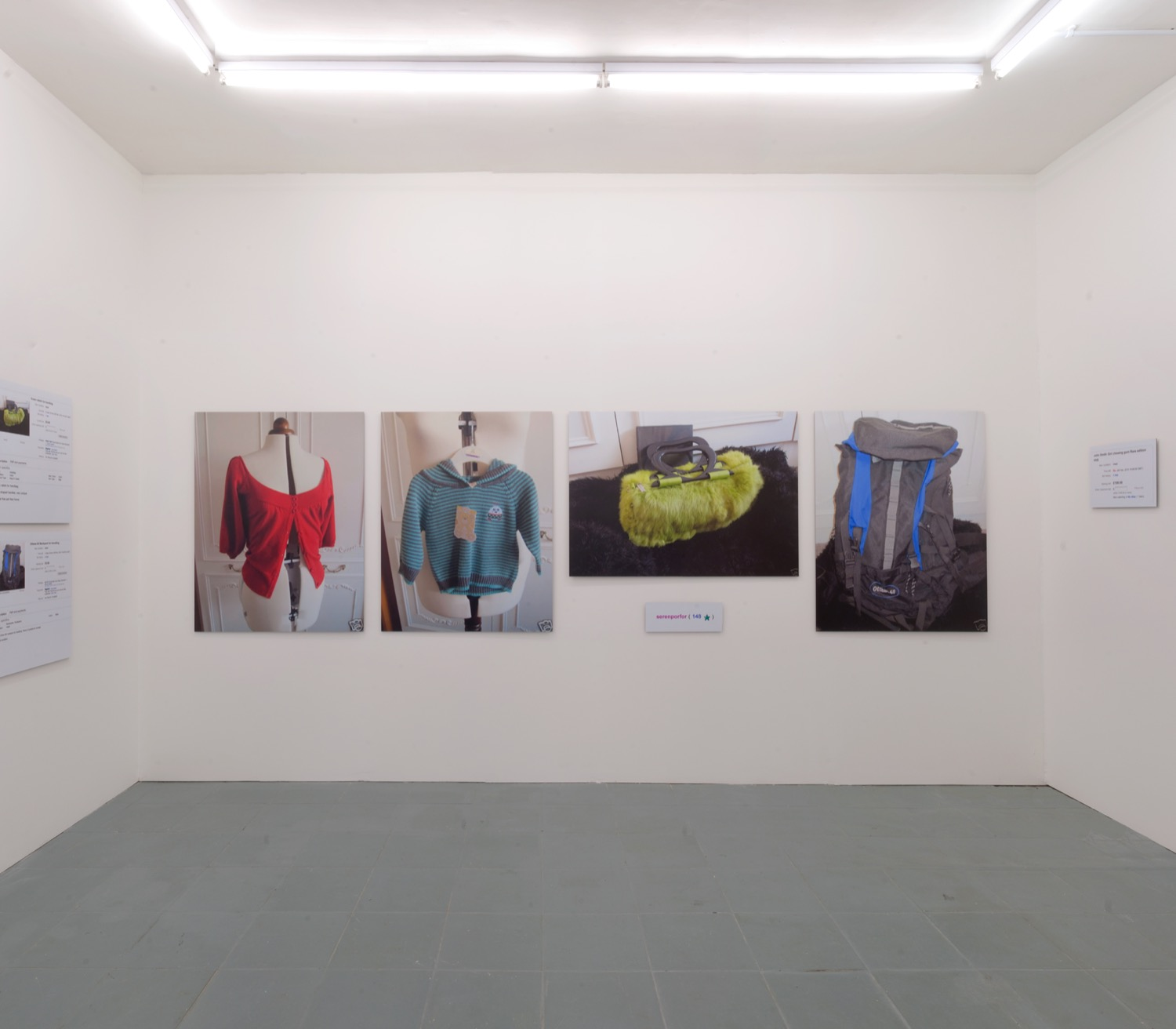 John Smith unusual Red cardigan. Installation view at PEER. Photo: Chris Dorley-Brown