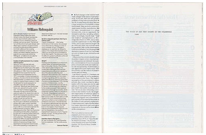 Drew Milne 'THE VOICE OF HIM THAT CRIETH IN THE WILDERNESS isms',  New Statesman, 15 Jan 1999