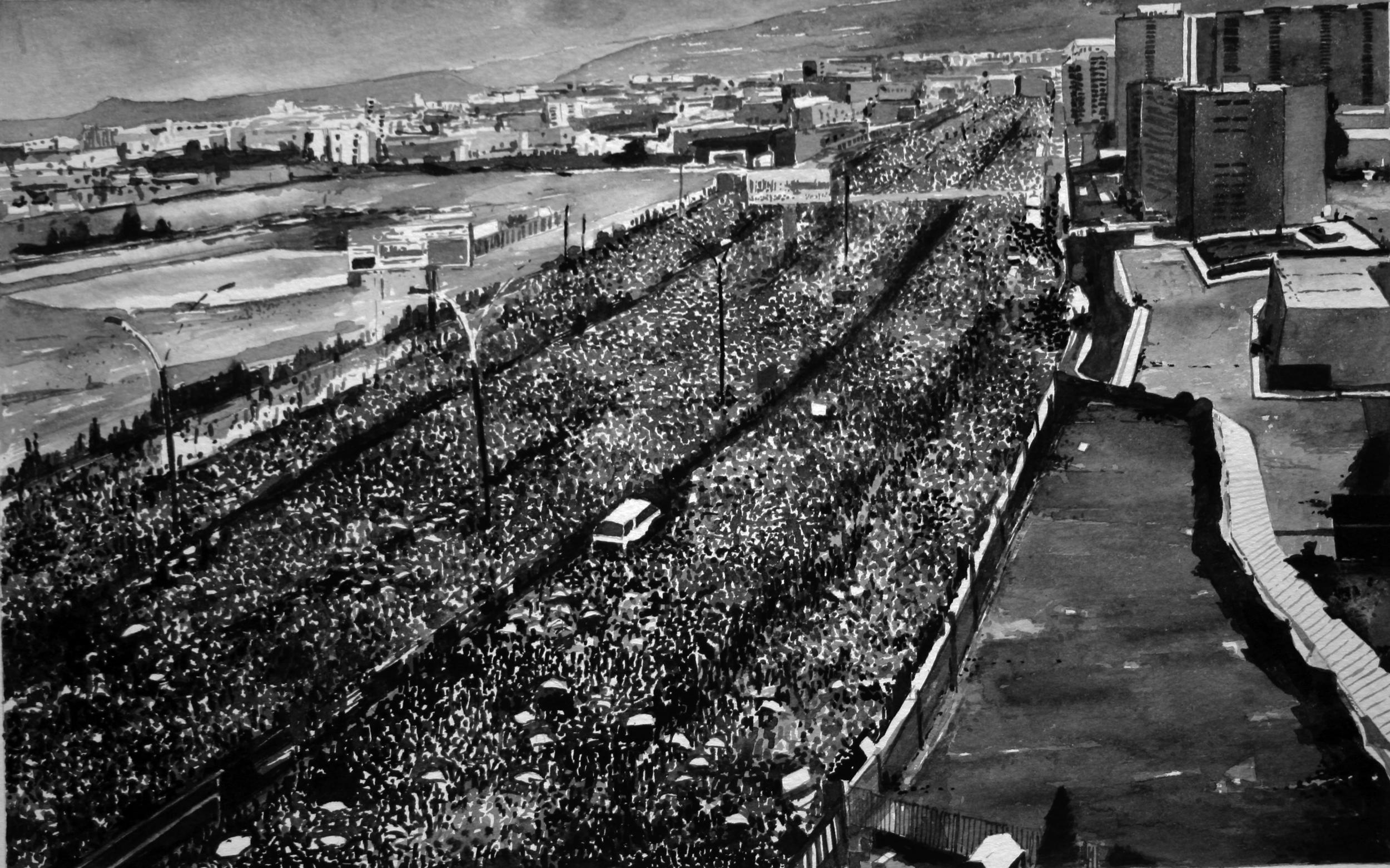 Protest Crowd, Yemen (2), ink on paper,  2012
