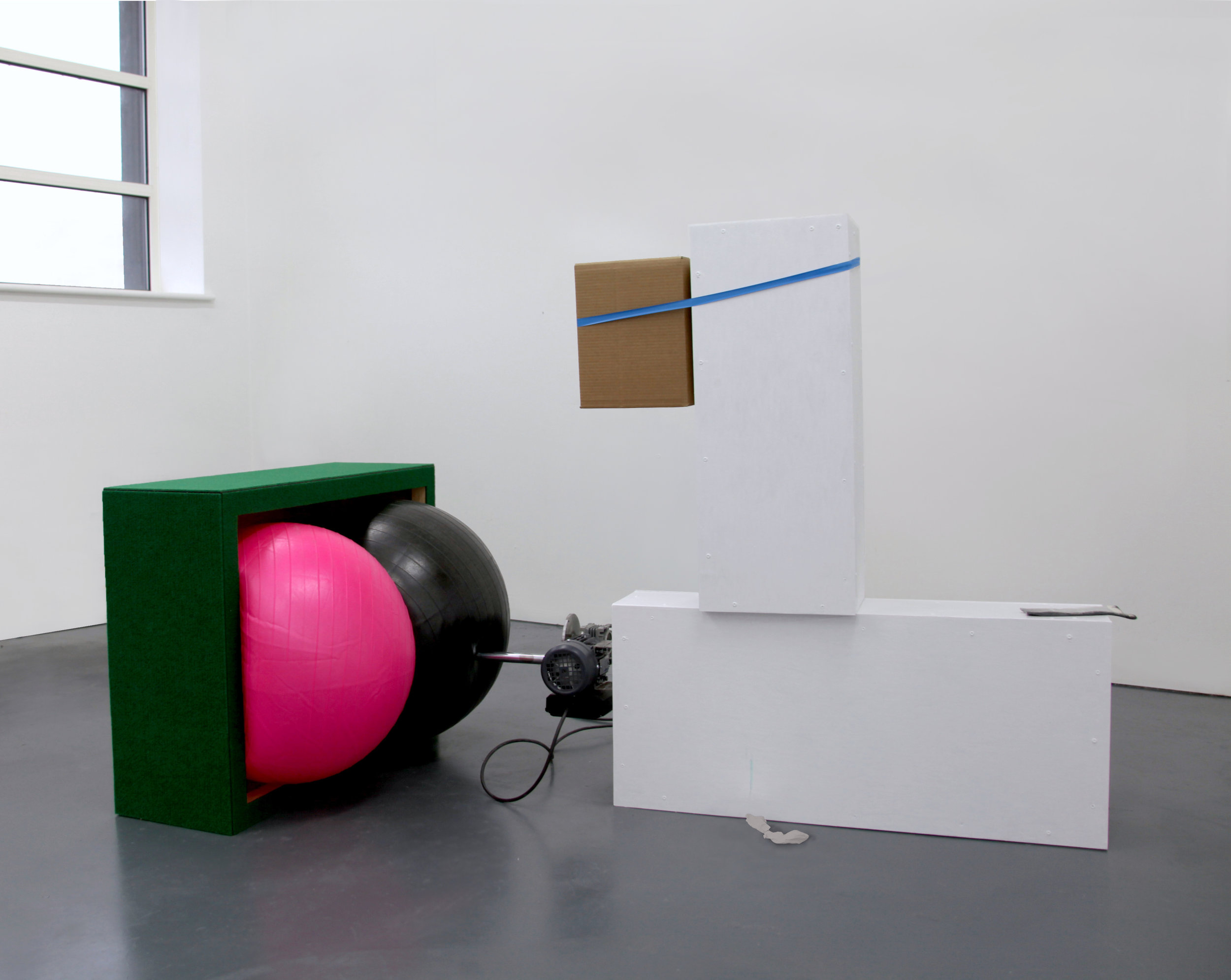 The duck finds two balls in a box, which over time has been surrounded by grass.jpg