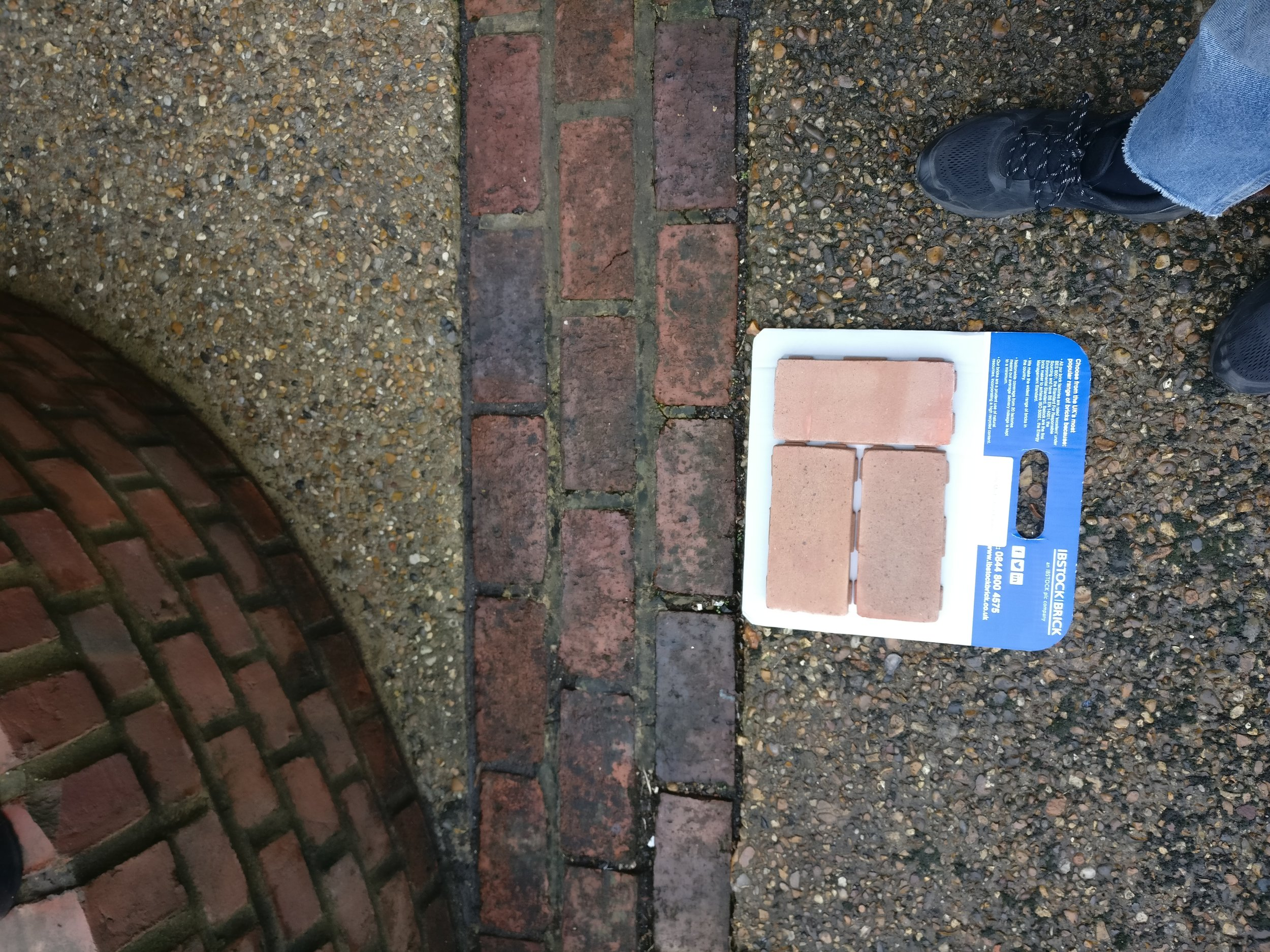 Testing brick samples for the re hard landscaping