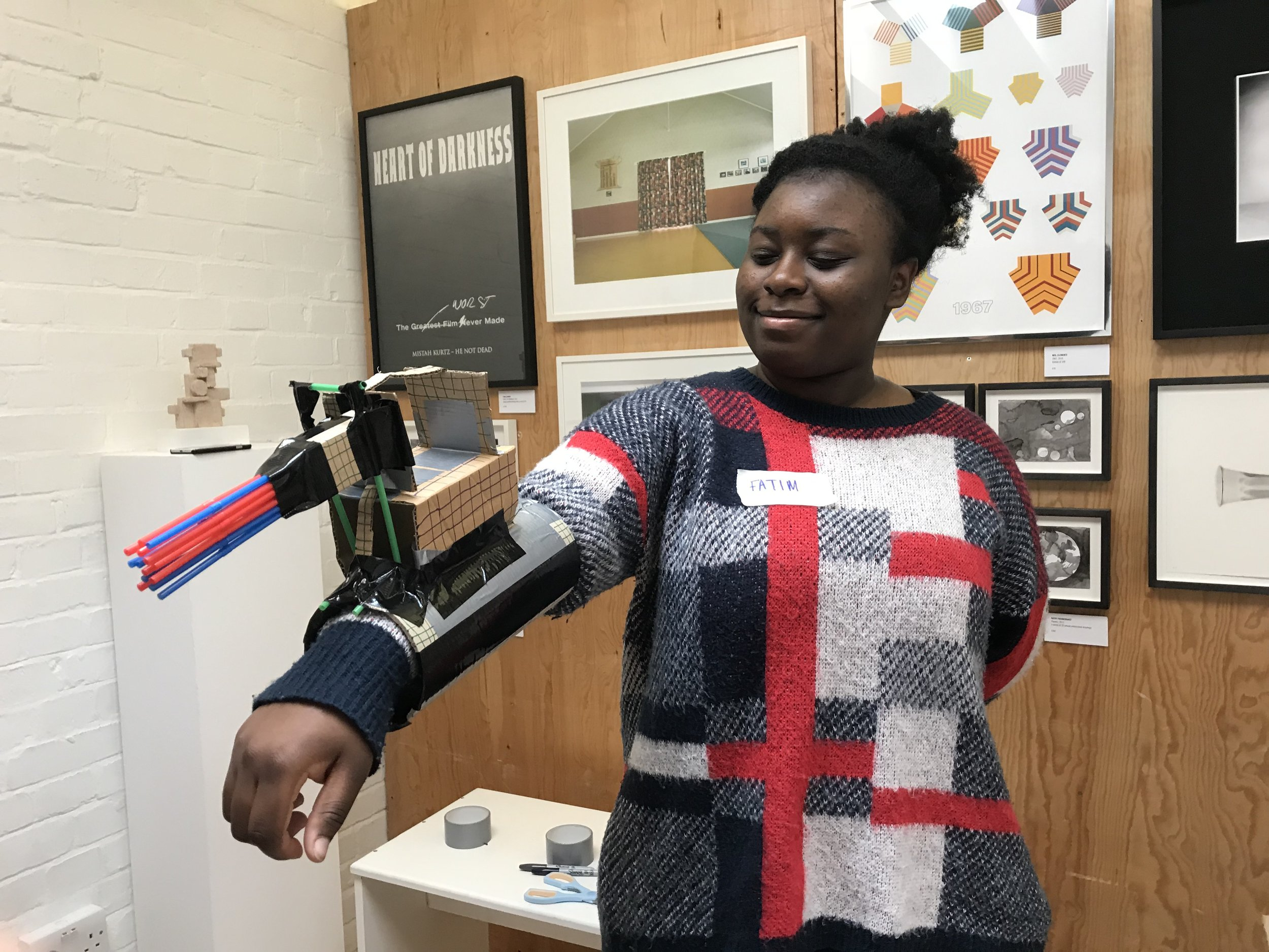 Fatim with her bionic arm