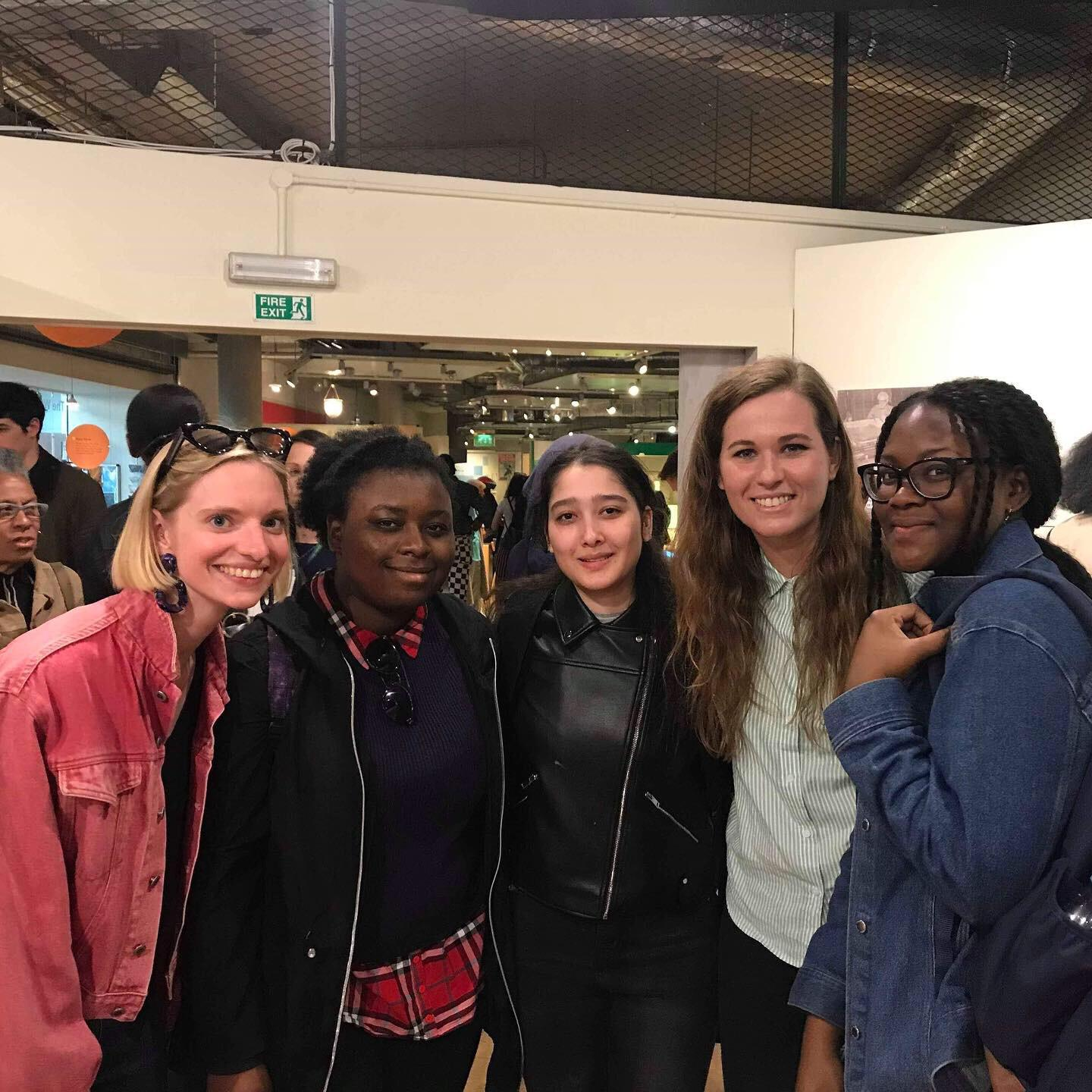 Curator for Local Audiences Alice White, PEER Notices artist Rebecca Moss with PEER Ambassadors Naile, Fatim and Amida