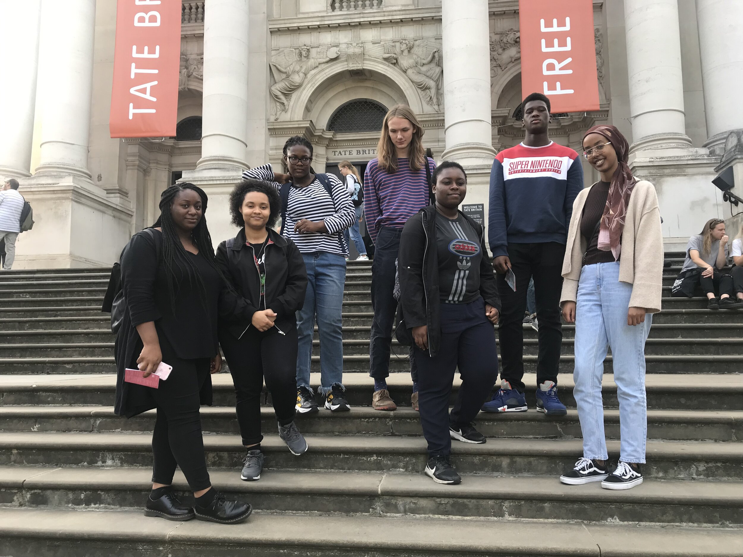 Our PEER Ambassadors in front of the Tate Britain entrance
