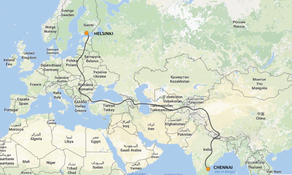 2018 vuoden matkan suunniteltu reitti. 14000 kilometriä ja 17 maata. Matka kestää 63pv.