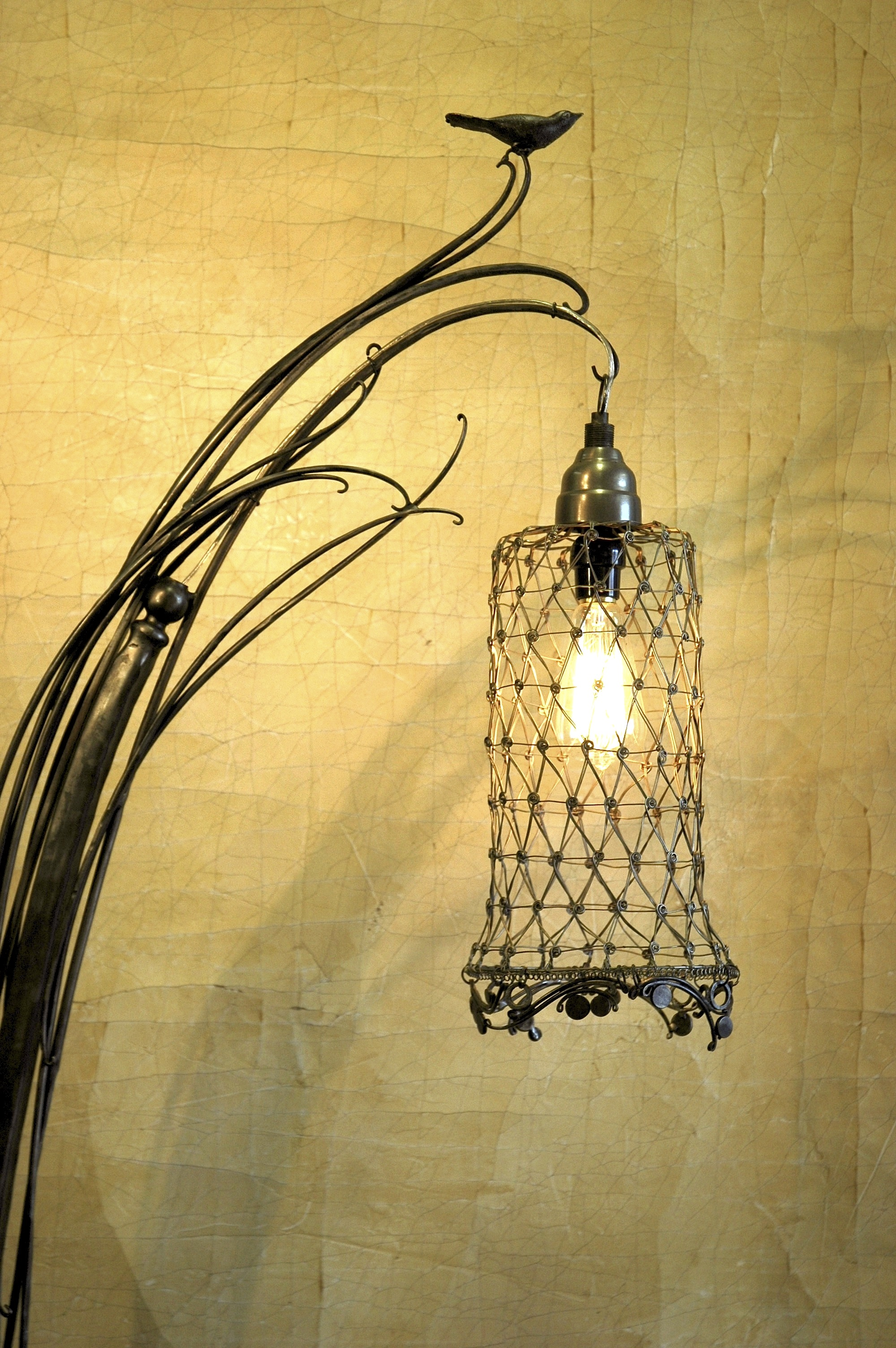 Lamp with Perched Bird