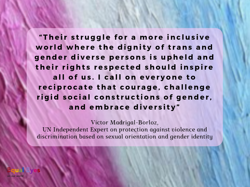 """Their struggle for a more inclusive world where the dignity of trans and gender diverse persons is upheld and their rights respected should inspire all of us. I call on everyone to reciprocate that courage, challenge rigid social constructions of gender, and embrace diversity""   Victor Madrigal-Borloz, the UN Independent Expert on protection against violence and discrimination based on sexual orientation and gender identity"