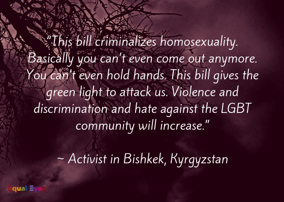 """This bill criminalizes homosexuality. Basically you can't even come out anymore. You can't even hold hands. This bill gives the green light to attack us. Violence and discrimination and hate against the LGBT community will increase.""  ~ Activist in Bishkek, Kyrgyzstan"
