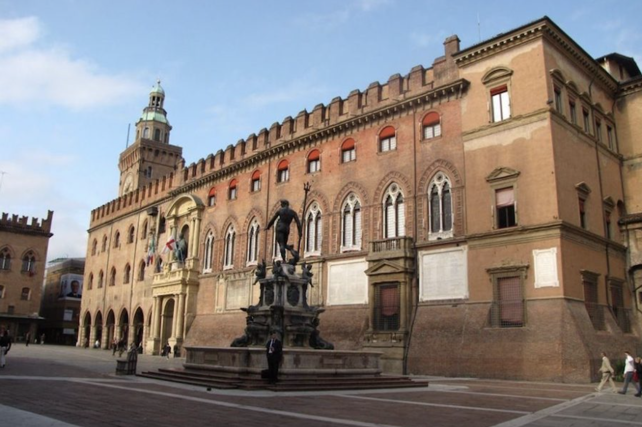 Piazza Maggiore in Bologna with the fountain of Neptune
