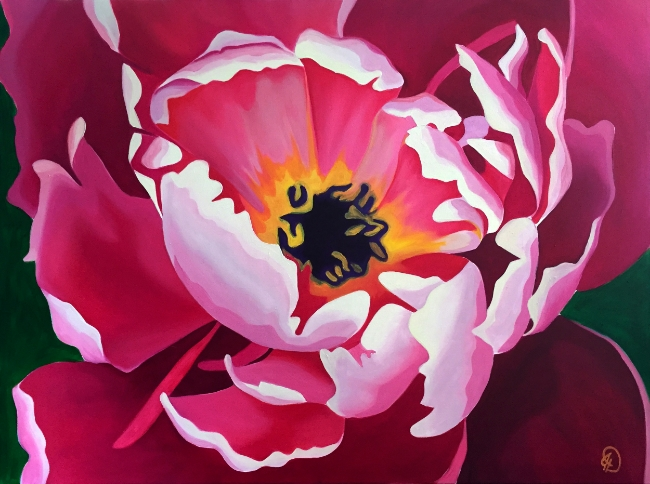 Pink Peony, oil on canvas
