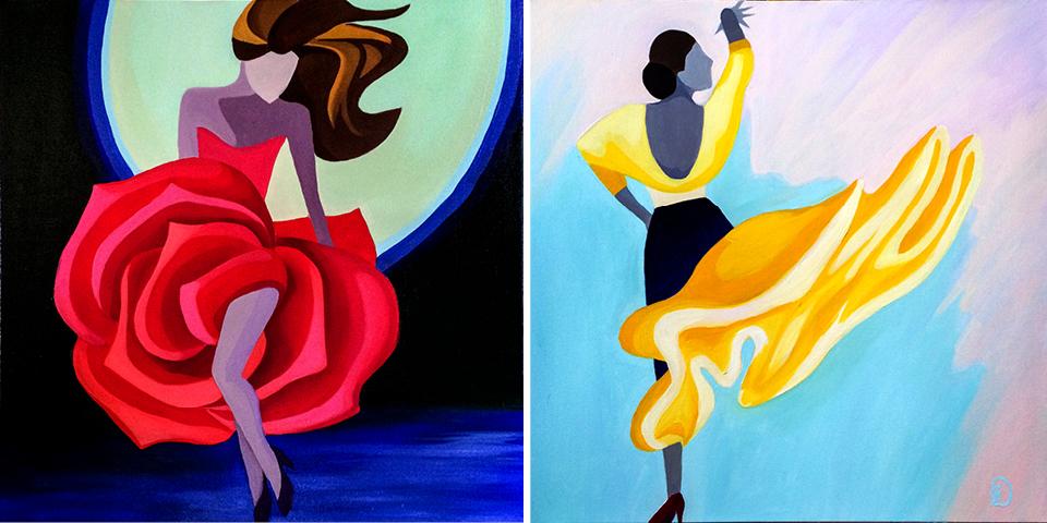 """Fae"" and ""Susanna"" are 24x24 oil on canvas originals"