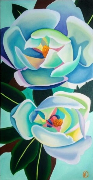 Magnolias, oil on canvas