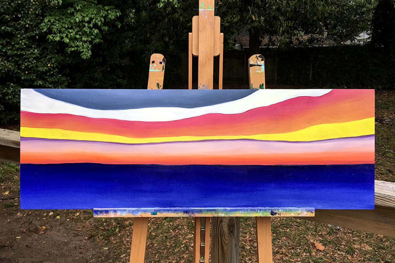 """sunset on wood"" 12 x 36"