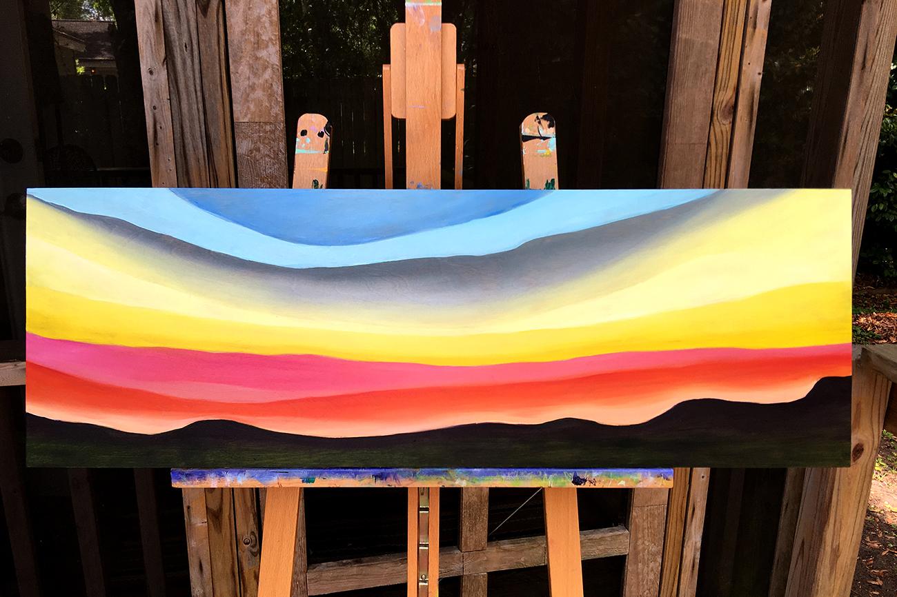 """""""sunrise on wood"""" 12 x 36"""