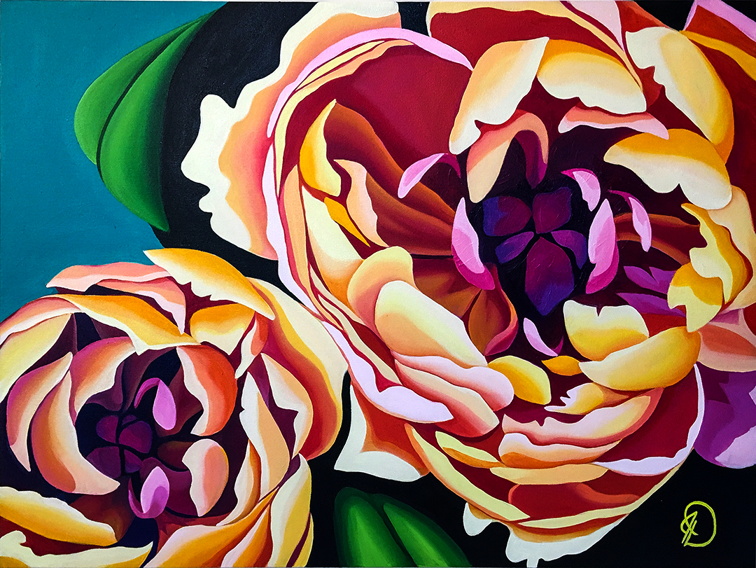 """The Gardner Peonies"" 30x40 oil on canvas - a wedding gift for two of my dearest friends and greatest supporters."