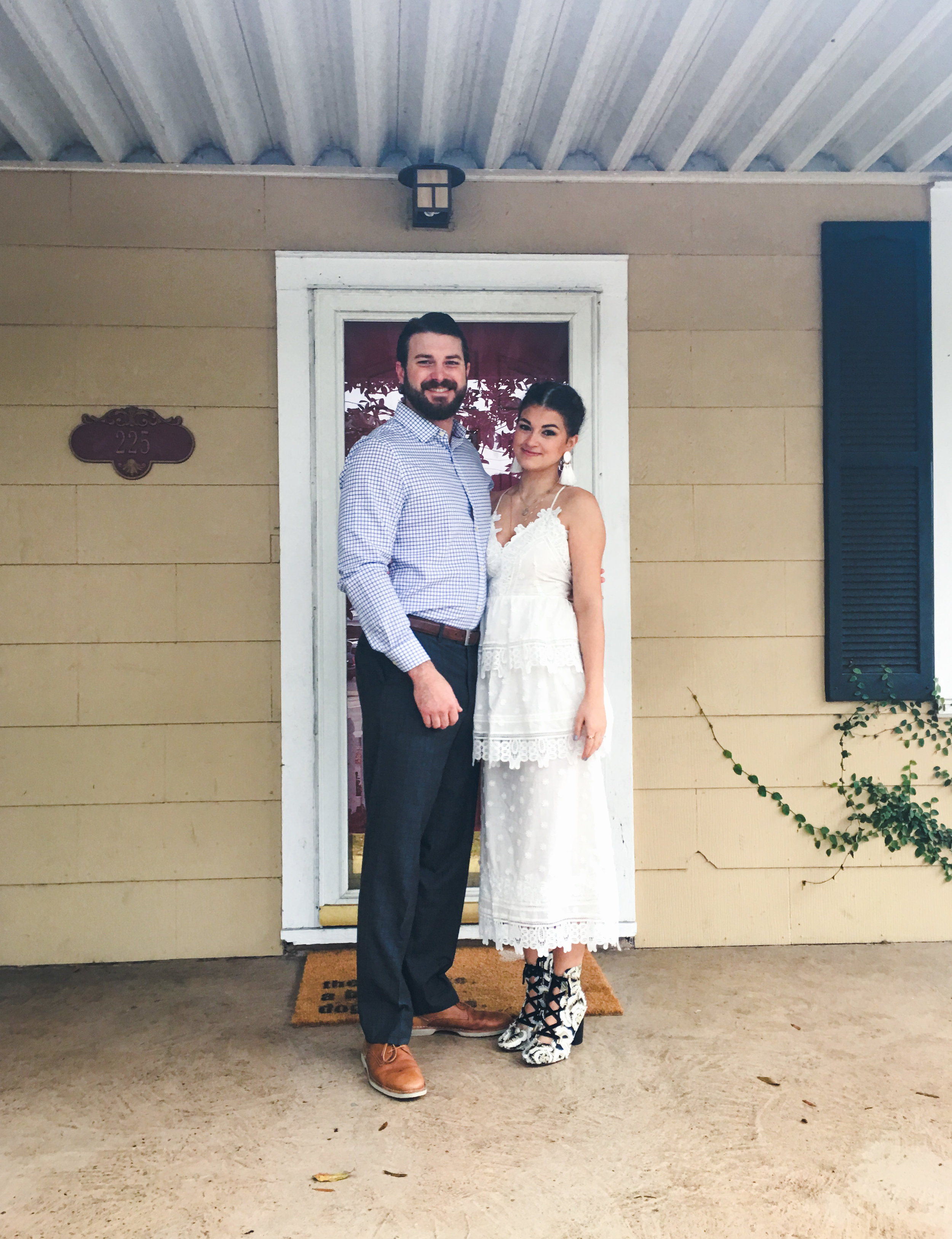 """our """"first look"""" outside our home in Riverland Terrance before driving to the courthouse (photo by sister Tracy)"""