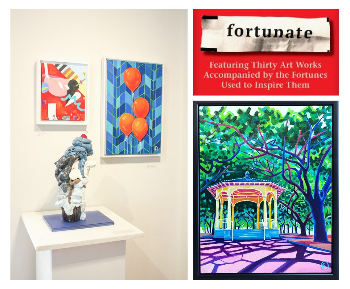 "pictured on the left are ""TWO!"" pieces, on the right is my submission for ""Fortunate"""