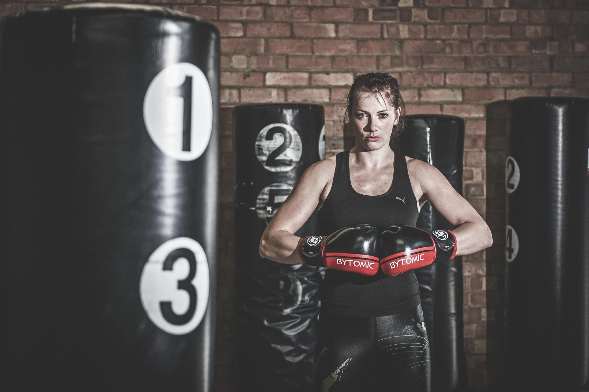 portrait photograph of a female mma fighter in Cheltenham