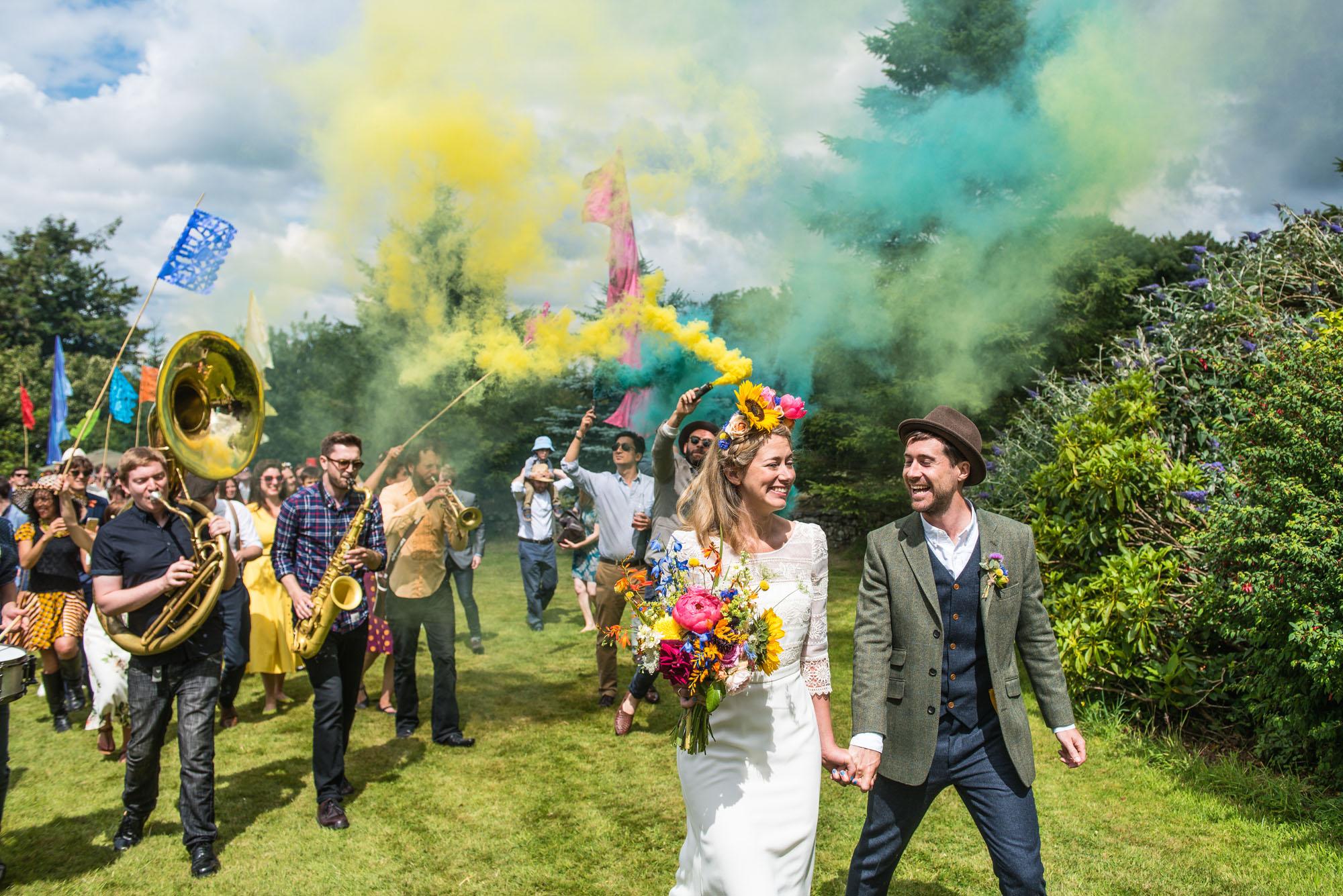 Colourful festival themed wedding in Devon