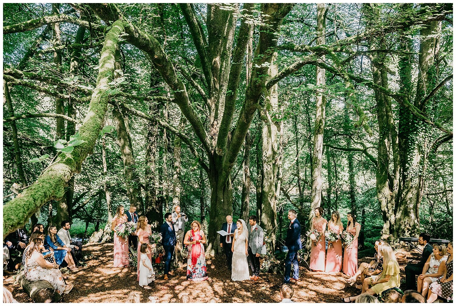 streamcombe farm woodland wedding ceremony