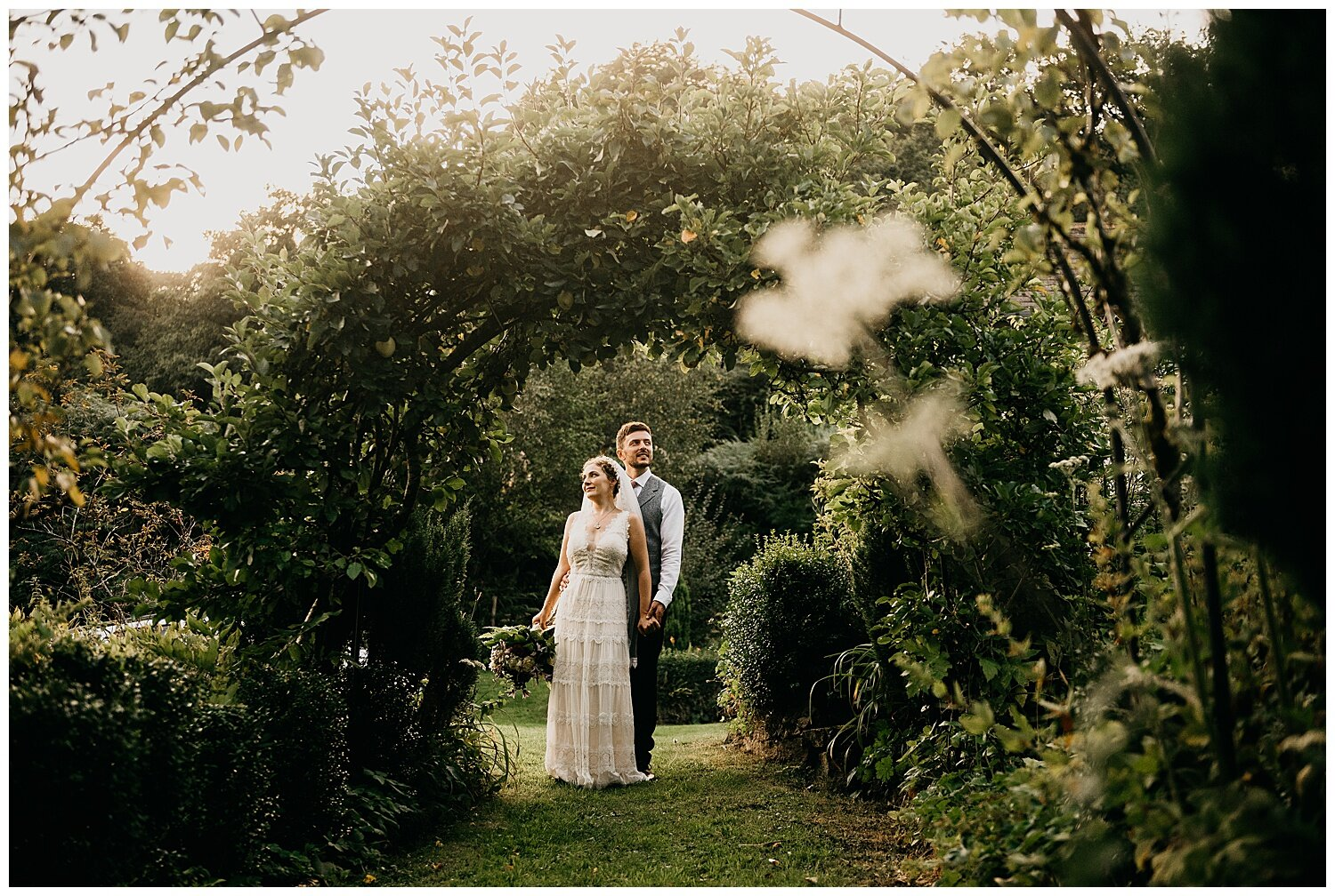 bride and groom portrait during golden hour at streamcombe farm