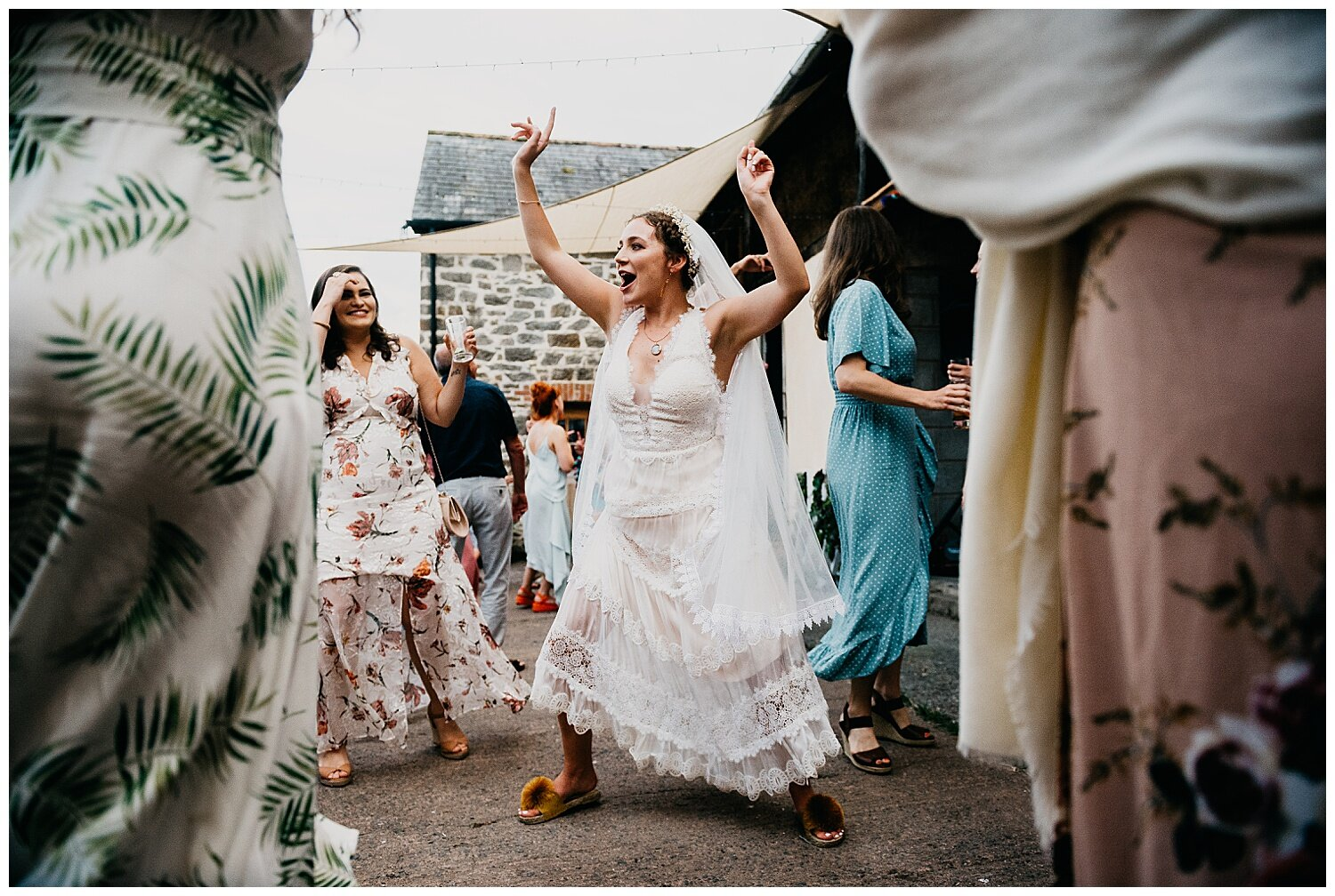 brides crazy dancing at streamcombe farm, dulverton