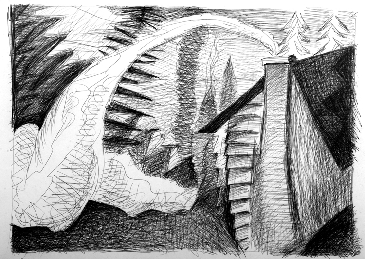 Jim Costello, Smoke Pours from the Chimney and Rolls on the Ground Like a Serpent, Pen & Ink, Undated