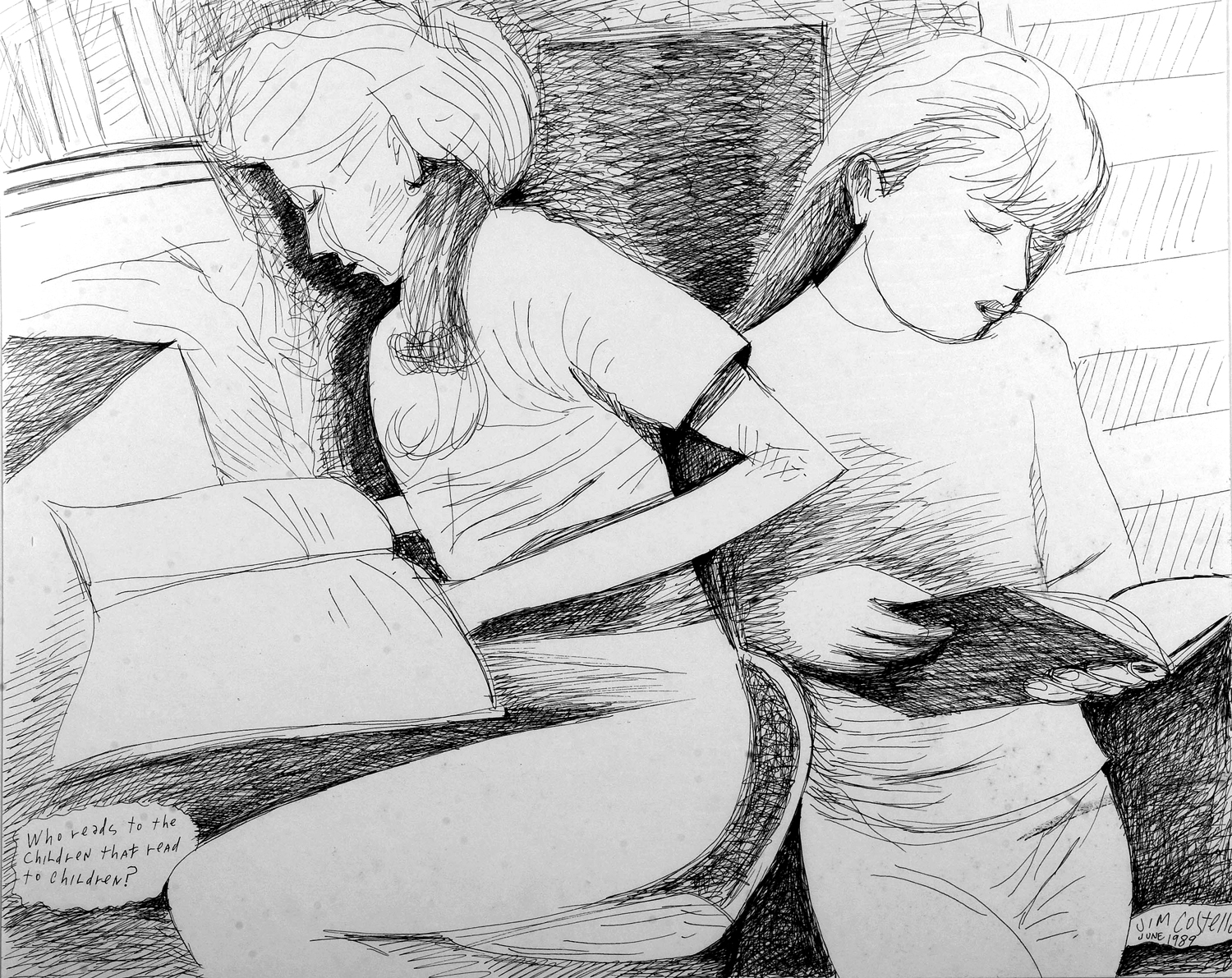 Jim Costello, Who Reads to the Children that Read to the Children, Pen & Ink, 1989