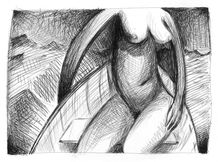 Jim Costello, Boat, Pen & Ink, 2005