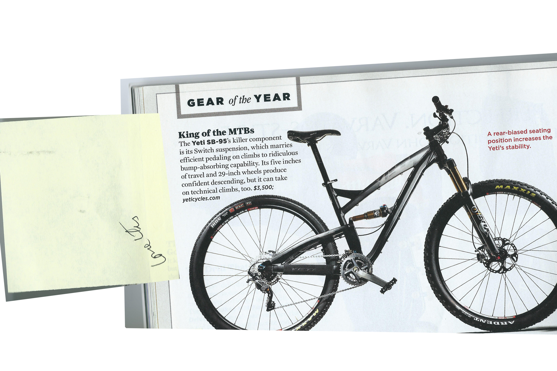 DC: Love it.  Image:  Men's Journal , Gear of the Year  Bicycle: Yeti SB-95