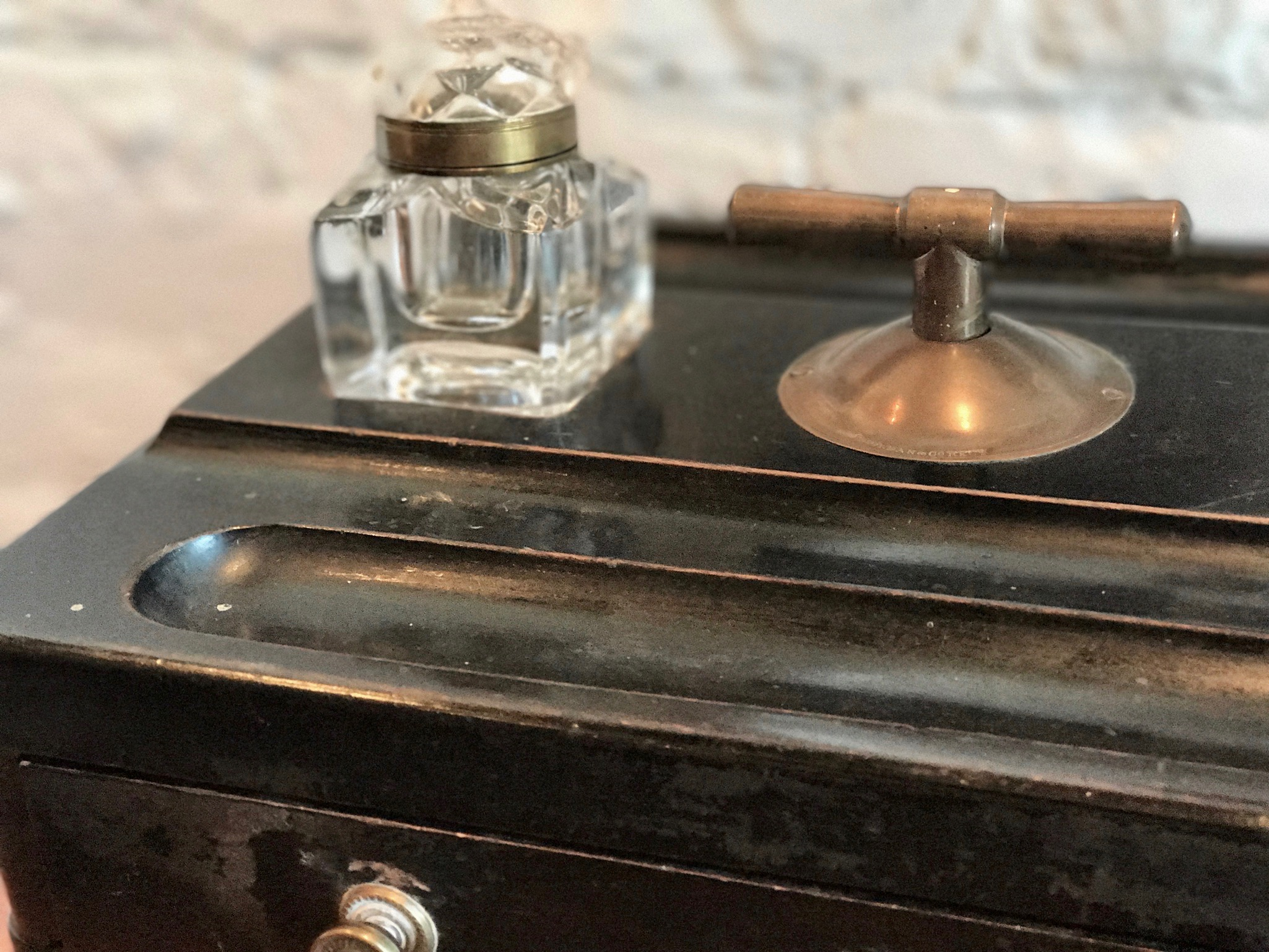 "Antique English Inkstand By S Morgan & Co. Circa 1870's   18.25"" L x 10.25"" D x 4.5"" H  $850   To order please call us at 202-234-5926 or email at boutique@darrylcarter.com. Please note pricing excludes taxes and shipping."