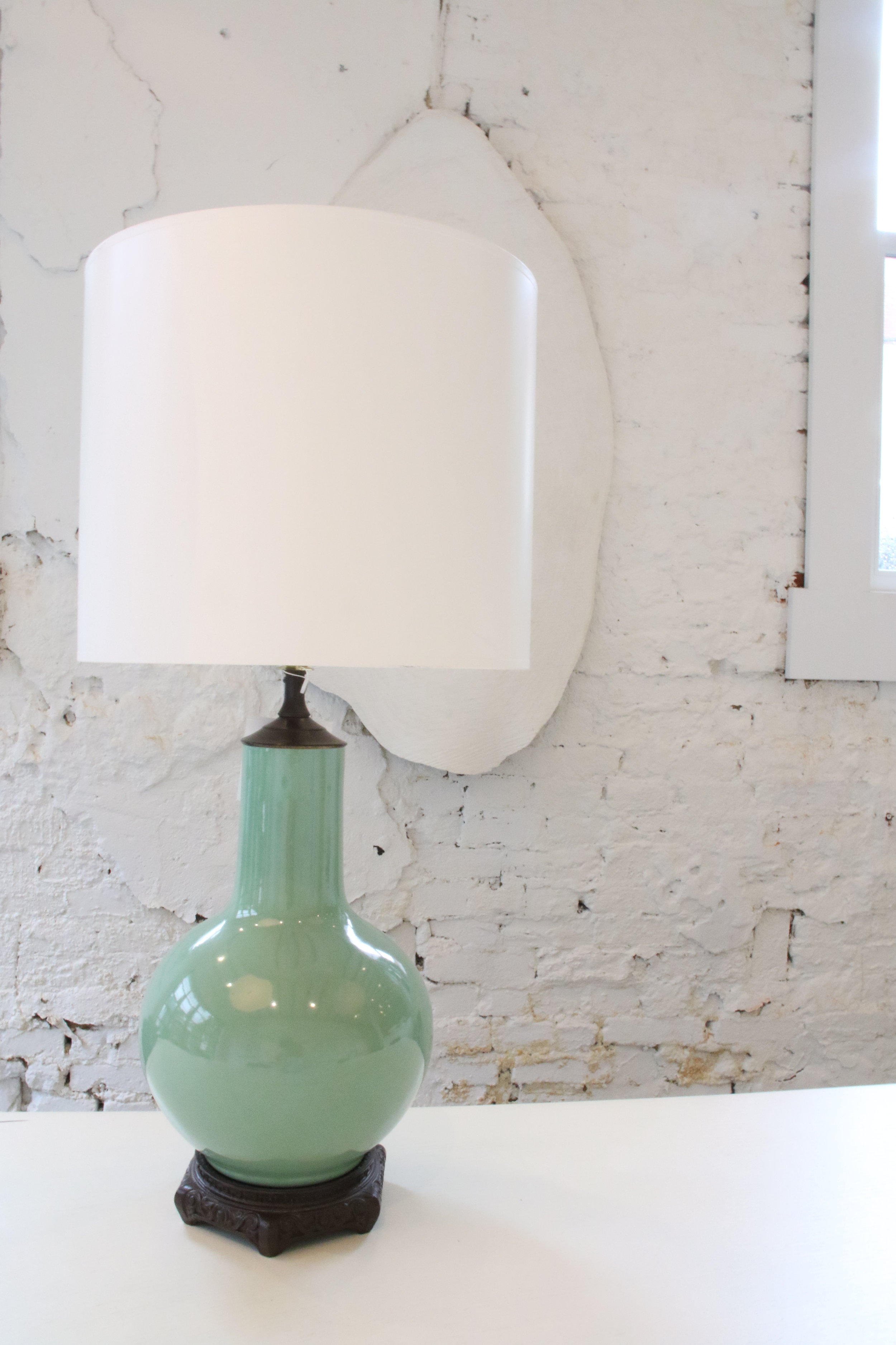 "Celadon Ceramic Lamp   25""H x 7"" W  $1100   To order please call us at 202-234-5926 or email at boutique@darrylcarter.com. Please note pricing excludes taxes and shipping."