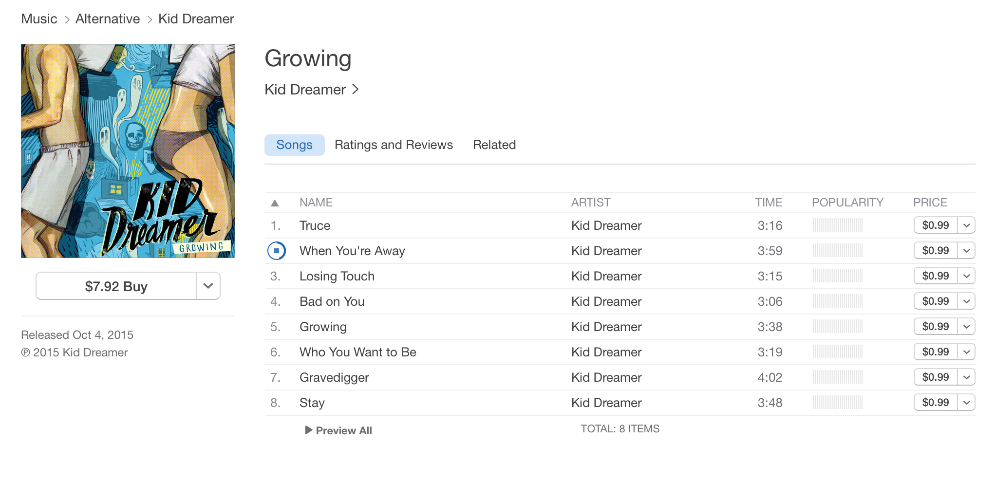 Kid Dreamer's 'Growing' is available on the iTunes store.