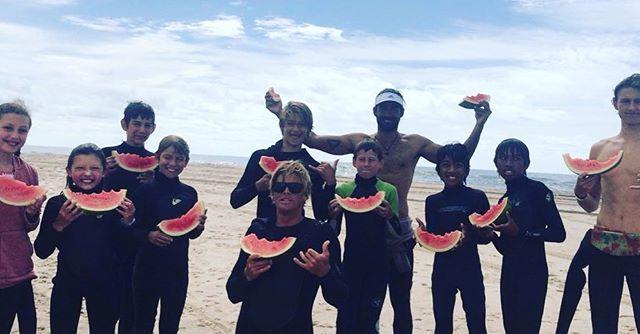 Big waves and big Watermelon slices this morning 🤙🌊🍉🌴 #ShareTheStoke #GoodVibesOnly #GromLand #Stoked #HamptonsSurf #NySurf #Hamptons #LastWeekOfSummer