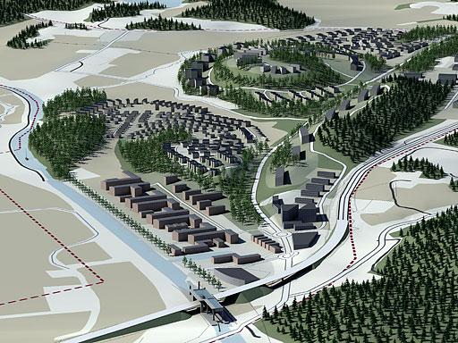 Skiss över nytt bostadsområde i Söderköping