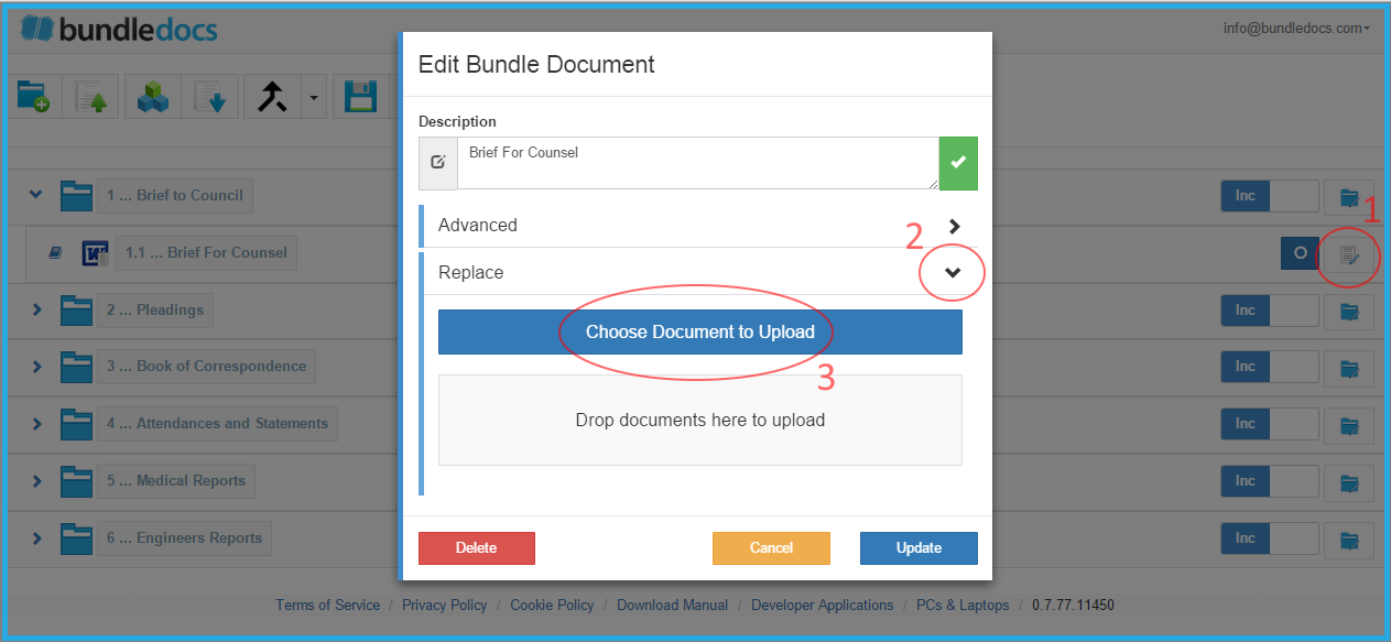 Effortlessly replace files within the new Bundledocs App