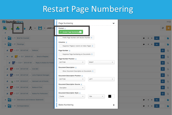 Easily restart page numbering at the beginning of each section