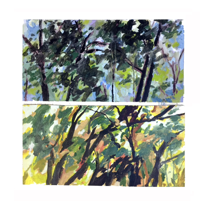 """Bailey's Woods 1 & 2"" Acrylic on wood - each painting 12 x 24 inches.  Inquire about these pieces"
